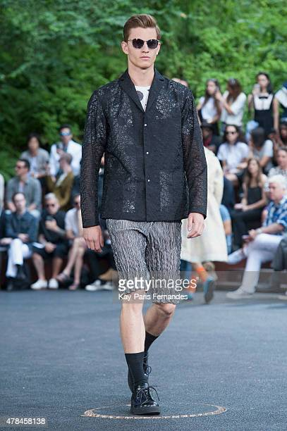 A model walks the runway during the Issey Miyake Men Menswear Spring/Summer 2016 show as part of Paris Fashion Week on June 25 2015 in Paris France