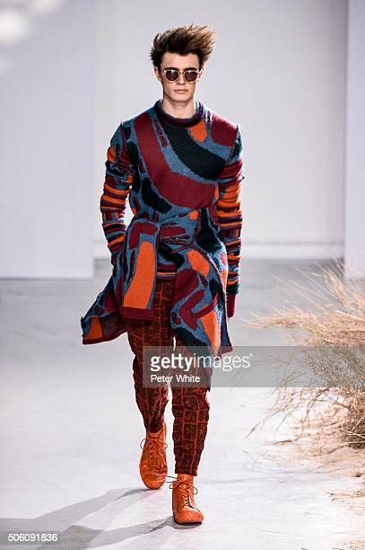 A model walks the runway during the Issey Miyake Men Menswear Fall/Winter 20162017 show as part of Paris Fashion Week on January 21 2016 in Paris...