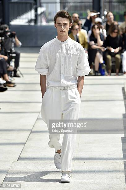 Model walks the runway during the Issey Miyake Men Menswear Spring/Summer 2017 show as part of Paris Fashion Week on June 23, 2016 in Paris, France.