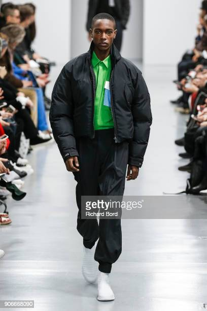 A model walks the runway during the Issey Miyake Men Menswear Fall/Winter 20182019 show as part of Paris Fashion Week on January 18 2018 in Paris...