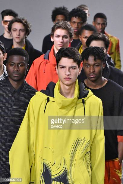 Model walks the runway during the Issey Miyake Men Menswear Fall/Winter 2019-2020 fashion show as part of Paris Fashion Week on January 17, 2019 in...