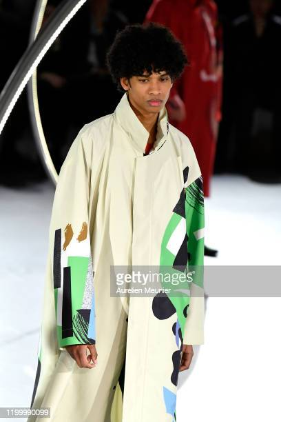 Model walks the runway during the Issey Miyake Men Menswear Fall/Winter 2020-2021 show as part of Paris Fashion Week on January 16, 2020 in Paris,...