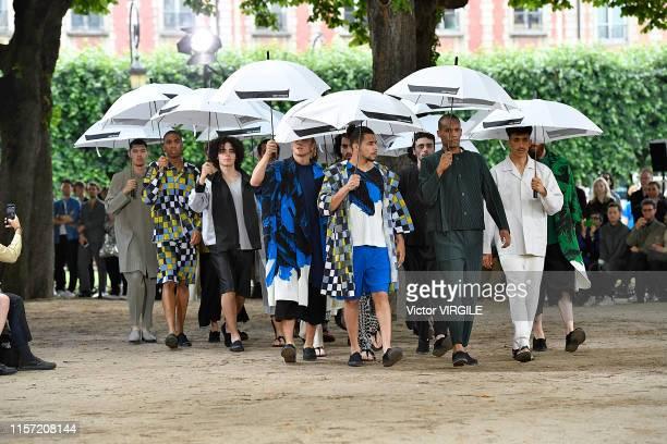 Model walks the runway during the Issey Miyake Men Menswear Spring Summer 2020 fashion show as part of Paris Fashion Week on June 20, 2019 in Paris,...