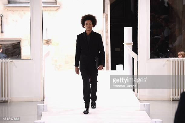 A model walks the runway during the Issey Miyake Men show as part of the Paris Fashion Week Menswear Spring/Summer 2015 on June 26 2014 in Paris...