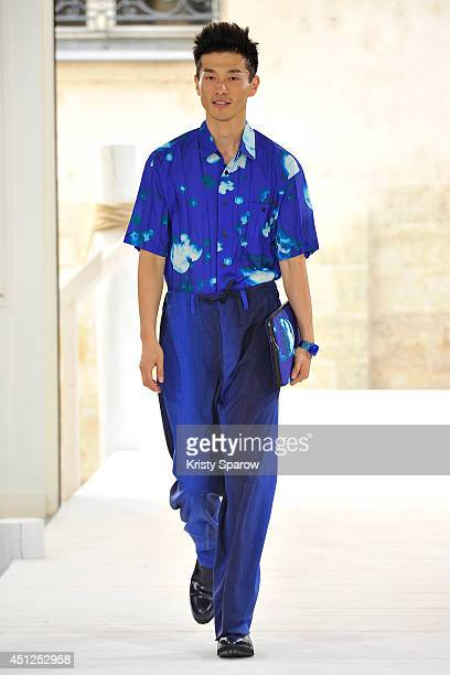 A model walks the runway during the Issey Miyake Men show as part of Paris Fashion Week Menswear Spring/Summer 2015 on June 26 2014 in Paris France