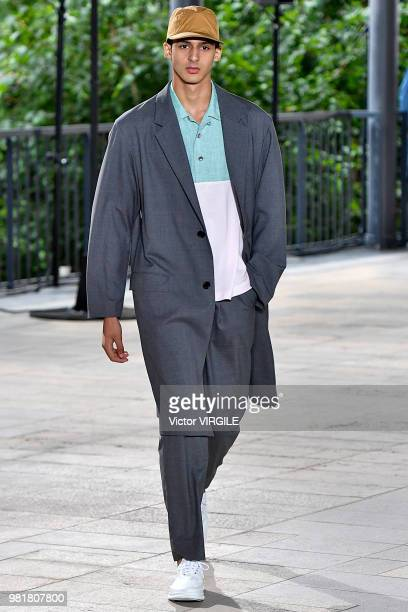 A model walks the runway during the Issey Miyake Menswear Spring/Summer 2019 fashion show as part of Paris Fashion Week on June 21 2018 in Paris...