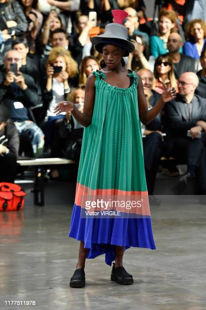 Model walks the runway during the Issey Miyake Ready to Wear Spring/Summer 2020 fashion show as part of Paris Fashion Week on September 27, 2019 in...
