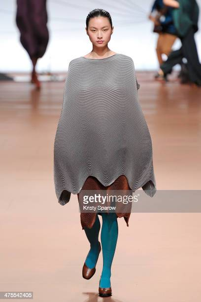 Model walks the runway during the Issey Miyake show as part of Paris Fashion Week Womenswear Fall/Winter 2014-2015 on February 28, 2014 in Paris,...