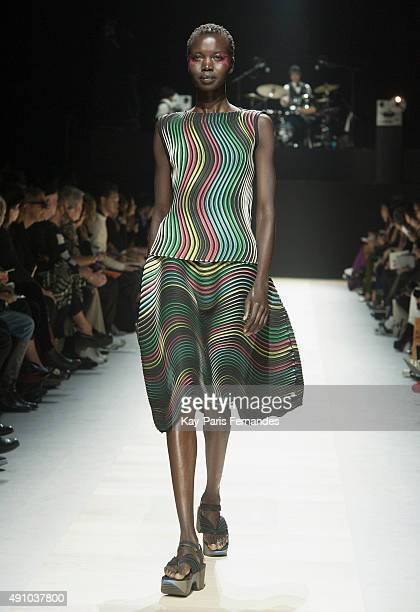 Model walks the runway during the Issey Miyake show as part of the Paris Fashion Week Womenswear Spring/Summer 2016 on October 2, 2015 in Paris,...