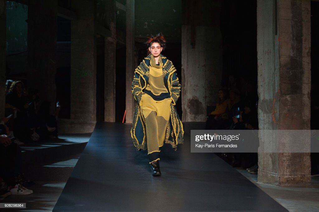A model walks the runway during the Issey Miyake show as part of the Paris Fashion Week Womenswear Fall/Winter 2018/2019 on March 2, 2018 in Paris, France.