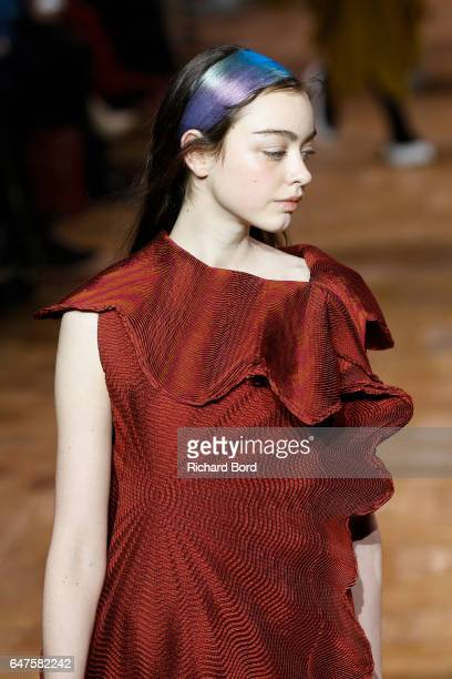 A model walks the runway during the Issey Miyake show at Hotel de Ville as part of the Paris Fashion Week Womenswear Fall/Winter 2017/2018 on March 3...
