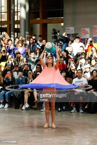 Model walks the runway during the Issey Miyake Womenswear Spring/Summer 2020 show as part of Paris Fashion Week on September 27, 2019 in Paris,...