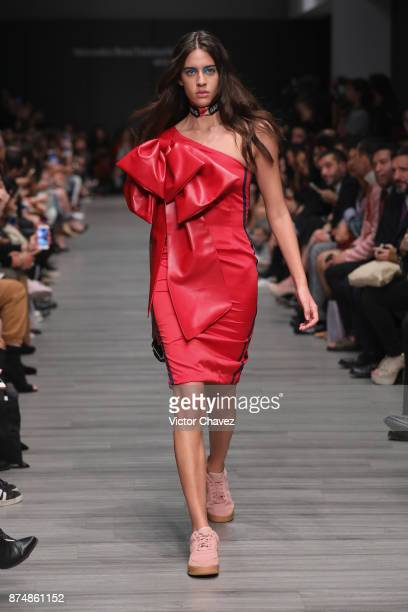 A model walks the runway during the Ivan Avalos show at Mercedes Benz Fashion Week Mexico Spring/Summer 2018 at Altto San Angel on November 15 2017...
