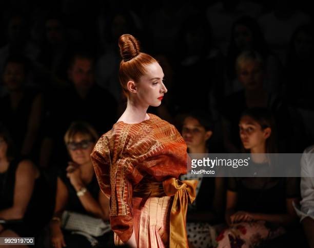 A model walks the runway during the Ivr Isabel Vollrath Spring/Summer 2019 collection show during the third day of MBFW Berlin Fashion Weak in the...