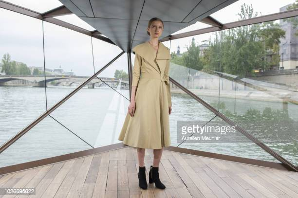 A model walks the runway during the 'J Autumn Fashion Show 2018' on September 4 2018 in Paris France