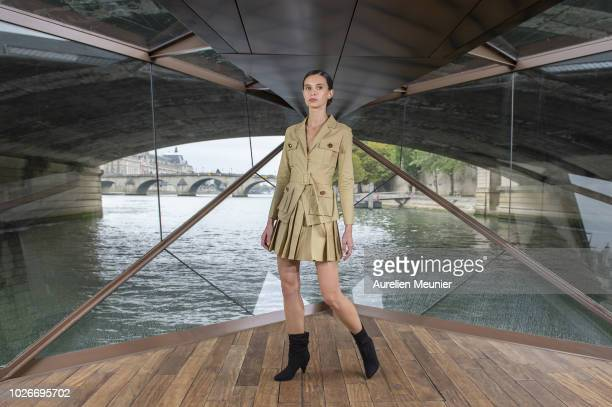 Model walks the runway during the 'J Autumn Fashion Show 2018' on September 4, 2018 in Paris, France.