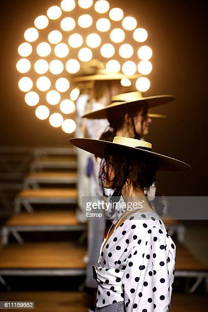 A model walks the runway during the Jacquemus designed by Simon Porte show as part of the Paris Fashion Week Womenswear Spring/Summer 2017 on...
