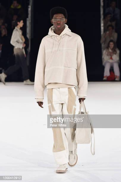 Model walks the runway during the Jacquemus Menswear Fall/Winter 2020-2021 show as part of Paris Fashion Week on January 18, 2020 in Paris, France.