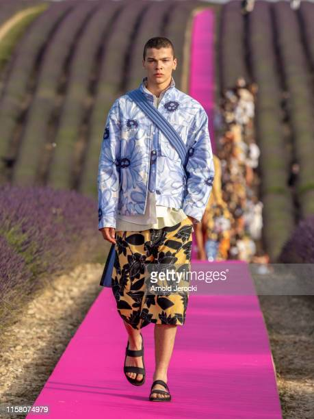 Model walks the runway during the Jacquemus Menswear Spring Summer 2020 show on June 24, 2019 in Valensole, France.