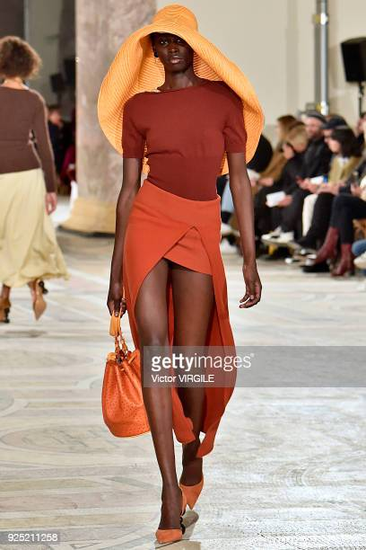 A model walks the runway during the Jacquemus Ready to Wear Fall/Winter 20182019 fashion show as part of the Paris Fashion Week Womenswear...