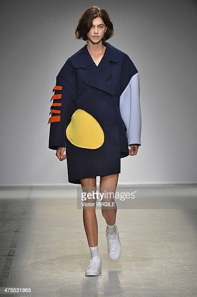 A model walks the runway during the Jacquemus show as part of the Paris Fashion Week Womenswear Fall/Winter 20142015 on February 25 2014 in Paris...
