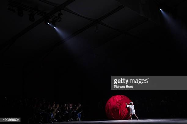 A model walks the runway during the Jacquemus show as part of the Paris Fashion Week Womenswear Spring/Summer 2016 at Paris Events Center on...