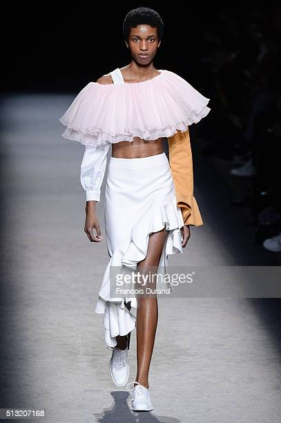 A model walks the runway during the Jacquemus show as part of the Paris Fashion Week Womenswear Fall/Winter 2016/2017 on March 1 2016 in Paris France