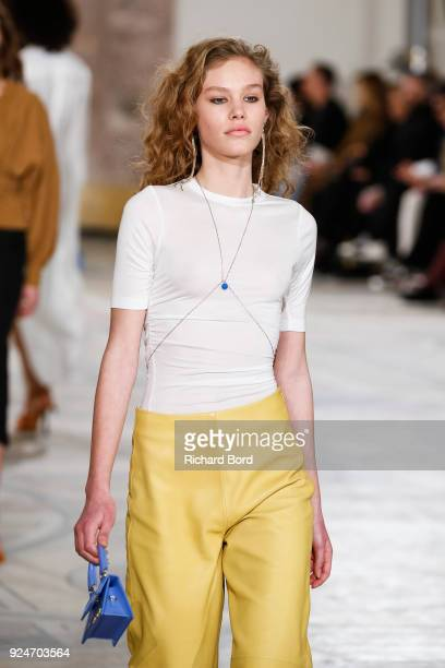 A model walks the runway during the Jacquemus show at Petit Palais as part of the Paris Fashion Week Womenswear Fall/Winter 2018/2019 on February 26...