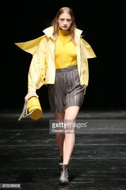 A model walks the runway during the Janashia fashion show at MercedesBenz Fashion Week Tbilisi on November 4 2017 in Tbilisi Georgia