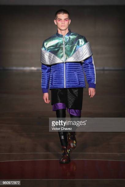 A model walks the runway during the Jannette Klein show at Mercedes Benz Fashion Fall/Winter 2018 on April 24 2018 in Mexico City Mexico