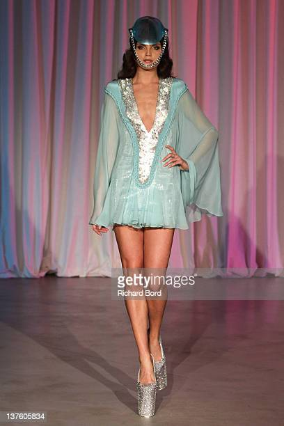 Model walks the runway during the Jantaminiau Haute-Couture 2012 show as part of Paris Fashion Week at Le Laboratoire on January 23, 2012 in Paris,...