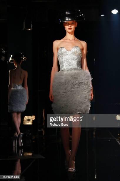 Model walks the runway during the Jantaminiaushow as part of Paris Fashion Week Fall/Winter 2011 at BETC EURO RSCG on July 7, 2010 in Paris, France.