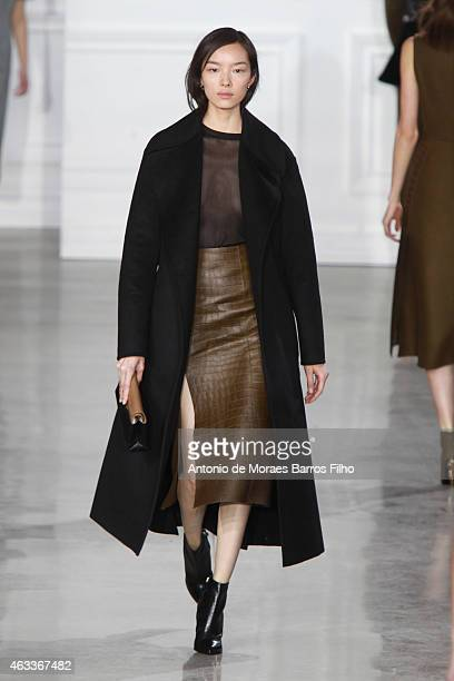 Model walks the runway during the Jason Wu fall 2015 fashion show on February 13, 2015 in New York City.