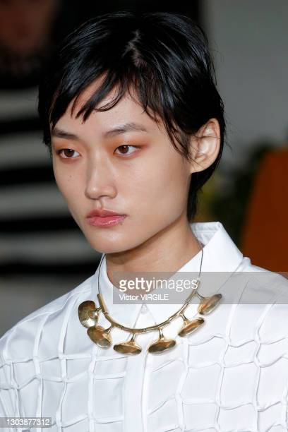 Model walks the runway during the Jason Wu Ready to Wear Fall/Winter 2021-2022 fashion show as part of the New York Fashion Week on February 14, 2021...