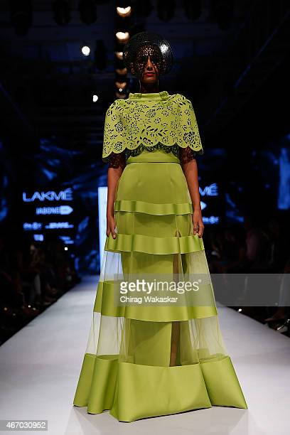 Model walks the runway during the Jatin Varma show on day3 as part of Lakme Fashion Week Summer/Resort 2015 at Palladium Hotel on March 20, 2015 in...