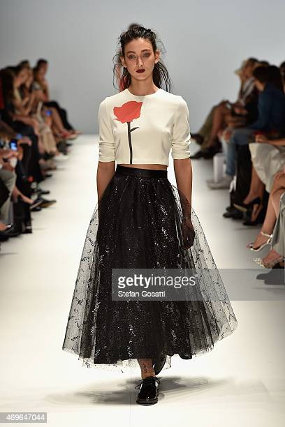 A model walks the runway during the Jayson Brunsdon show at MercedesBenz Fashion Week Australia 2015 at Carriageworks on April 14 2015 in Sydney...
