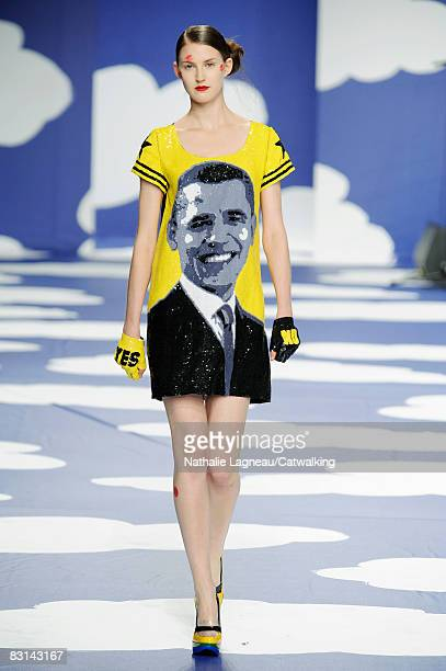 A model walks the runway during the JC De Castelbajac show part of Paris Fashion Week Spring/Summer 2009 on October 032008 in ParisFrance