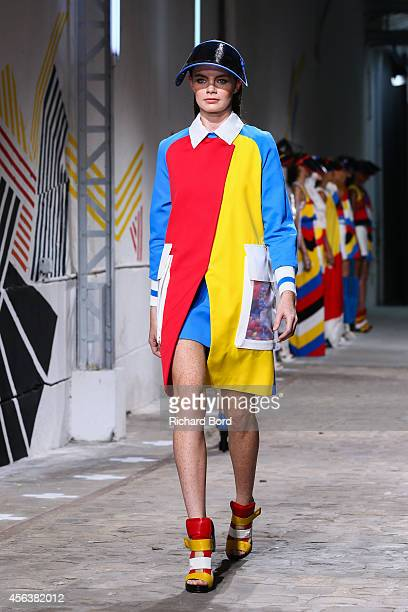 A model walks the runway during the Jean Charles De Castelbajac show as part of the Paris Fashion Week Womenswear Spring/Summer 2015 at Garage Lubeck...