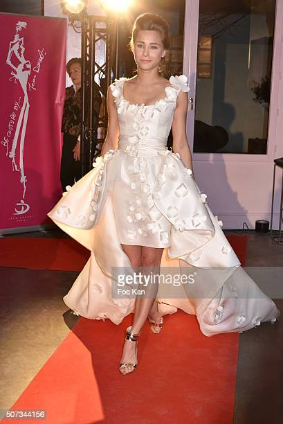 A model walks the Runway during the Jean Doucet 'Bonheur Pour Tous' Gay and Lesbian Wedding dresses show as part of Paris Fashion Week on January 28...