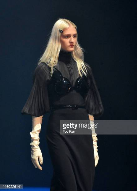 Model walks the runway during the Jean Paul Gaultier Haute Couture Fall/Winter 2019 2020 show as part of Paris Fashion Week on July 03, 2019 in...