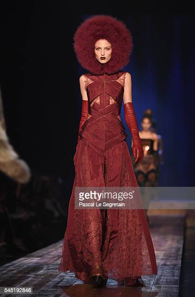 Model walks the runway during the Jean Paul Gaultier Haute Couture Fall/Winter 2016-2017 show as part of Paris Fashion Week on July 6, 2016 in Paris,...