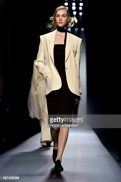 Model walks the runway during the Jean Paul Gaultier show as part of Paris Fashion Week Haute Couture Spring/Summer 2015 on January 28, 2015 in...