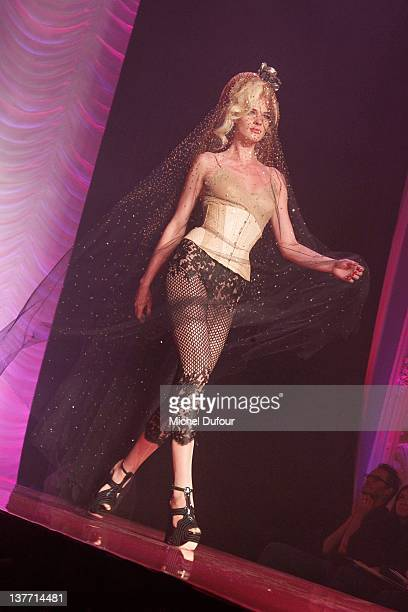 Model walks the runway during the Jean Paul Gaultier Spring/Summer 2012 Haute-Couture Show as part of Paris Fashion Week on January 25, 2012 in...