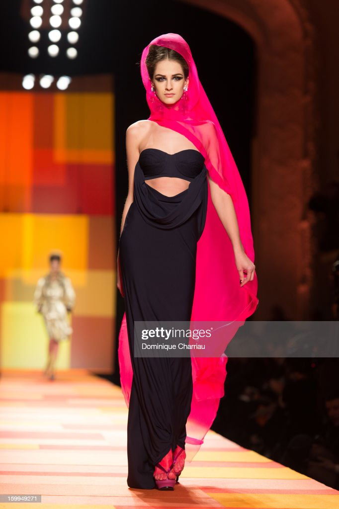 A model walks the runway during the Jean Paul Gaultier Spring/Summer 2013 Haute-Couture show as part of Paris Fashion Week at on January 23, 2013 in Paris, France.