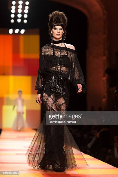 A model walks the runway during the Jean Paul Gaultier Spring/Summer 2013 HauteCouture show as part of Paris Fashion Week at on January 23 2013 in...