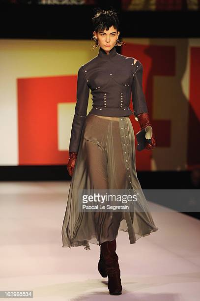 Model walks the runway during the Jean-Paul Gaultier Fall/Winter 2013 Ready-to-Wear show as part of Paris Fashion Week on March 2, 2013 in Paris,...