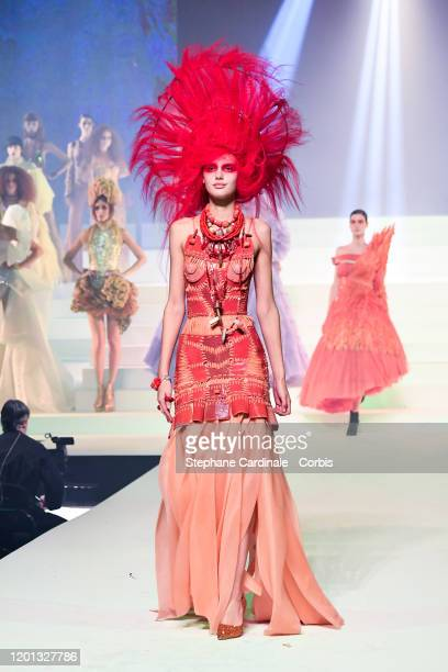 Model walks the runway during the Jean-Paul Gaultier Haute Couture Spring/Summer 2020 show as part of Paris Fashion Week at Theatre Du Chatelet on...
