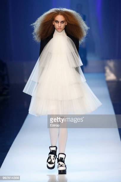 A model walks the runway during the JeanPaul Gaultier Haute Couture Fall Winter 2018/2019 show as part of Paris Fashion Week on July 4 2018 in Paris...