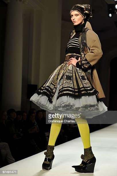Model walks the runway during the Jean-Paul Gaultier Ready to Wear show as part of the Paris Womenswear Fashion Week Fall/Winter 2011 on March 6,...