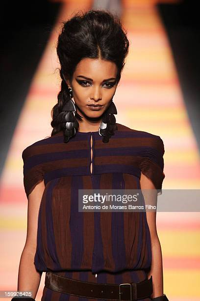 A model walks the runway during the JeanPaul Gaultier Spring/Summer 2013 HauteCouture show as part of Paris Fashion Week at on January 23 2013 in...